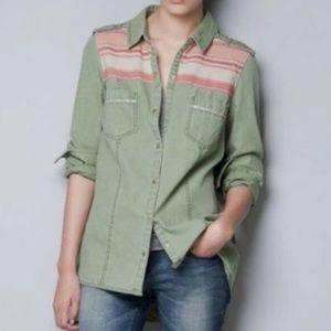 Zara Trafaluc Olive Long Sleeve Shirt Medium